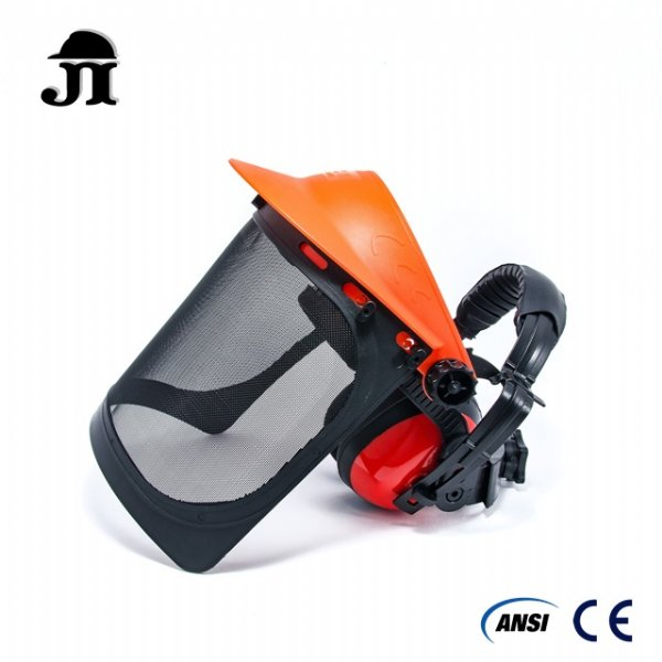 JF508+JE201,Wire Mesh Face Shield with Ear Muff 2 in 1 combo set